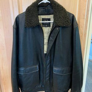 Genuine Leather Bomber Jacket Mens M